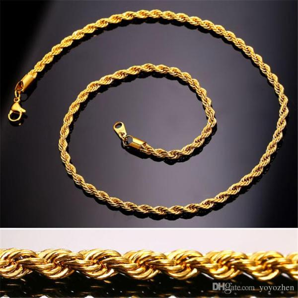 18k Real Gold Plated Stainless Steel Rope Chain