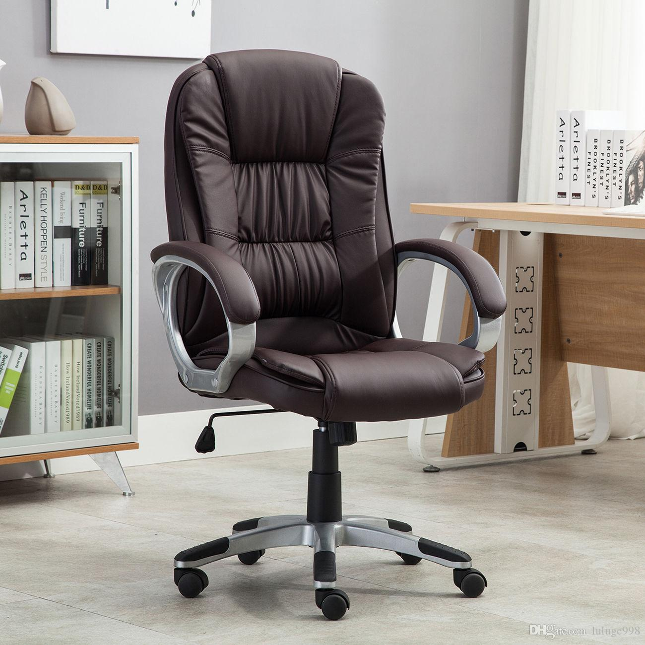pu leather office chair taupe dining chairs canada high brown executive desk task computer boss luxury new online with 68 58 piece on luluge998 s store dhgate com