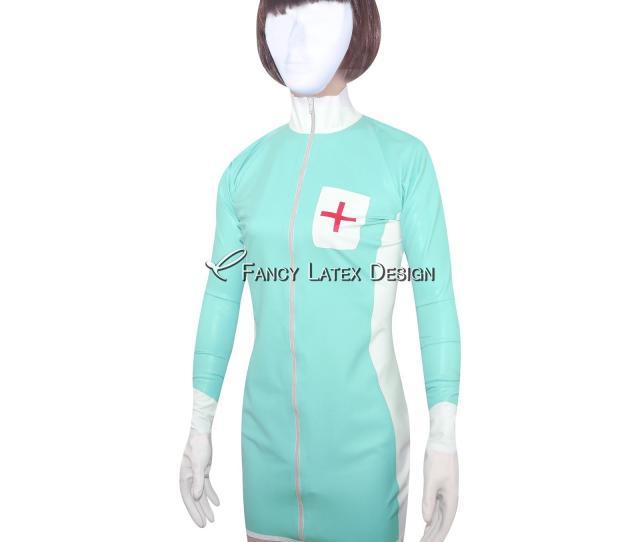Jade Green Sexy Fetish Latex Nurse Uniform Sets Rubber Dress With Cross Decoration Zipper At Front Lyq 0010 Fetish Rubber Latex Nurse Uniform Dress Fetish