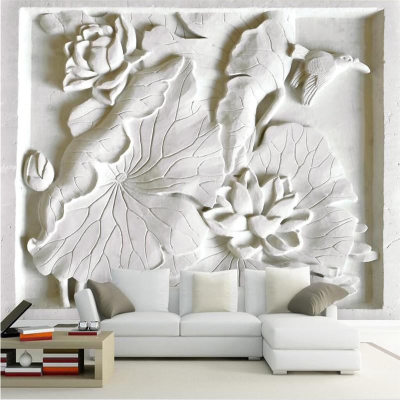 living room art decor trunk wholesale 3d wallpaper mural picture backdrop modern with white embossed lotus hotel restaurant painting panel canada 2019 from