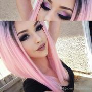 black ombre pink straight bob