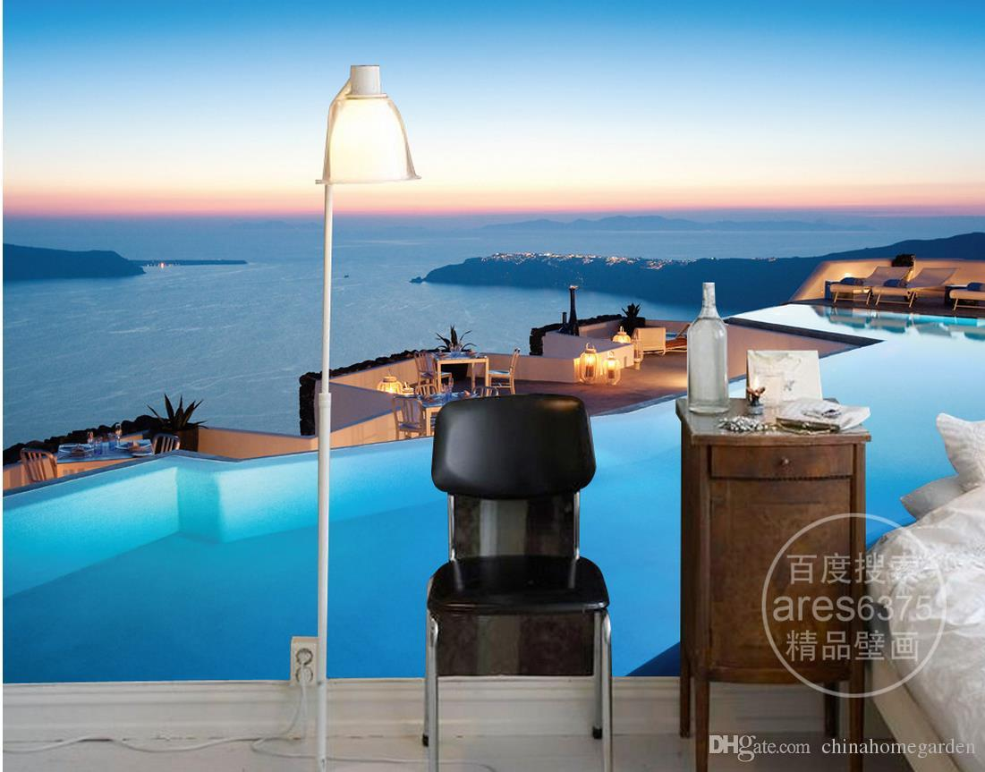 3d Brick Wallpaper Wall Background Stickers Self Adhesive Decorative Luxury European Modern 3d Aegean Romantic Sea View Pool