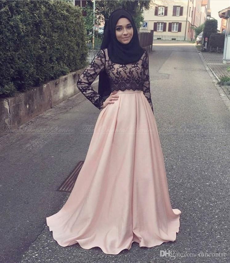 Elegant Black Lace Muslim Evening Dresses Islamic Abaya