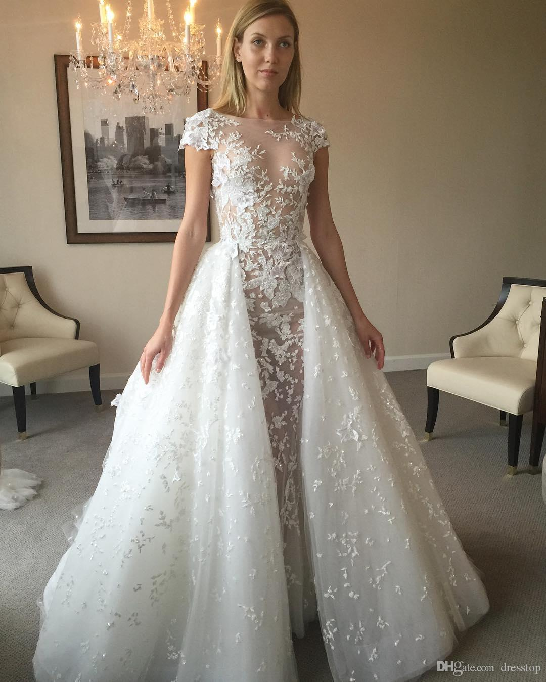Discount 2017 Zuhair Murad Overskirt Wedding Dresses Short Sleeves Sheer Jewel Neck Appliqued
