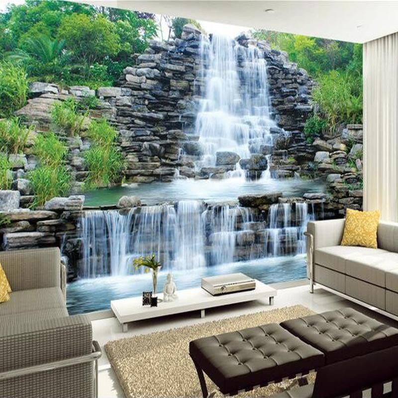 wall paper for living room how to decorate a small with corner fireplace wholesale custom 3d mural wallpaper water flowing waterfall nature landscape painting art bedroom decor free screensavers