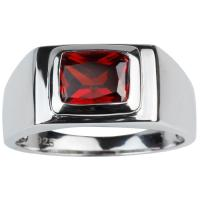 2019 Solid 925 Silver Ring Men Jewelry 7x9mm Garnet Red ...