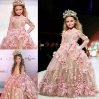 Gold Sequined Ball Gown Girls Pageant Dresses Long Sleeves ...