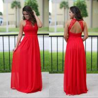 Sexy Long Chiffon Country Bridesmaid Dresses Red Lace