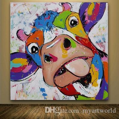 framed colorful cow hand