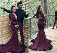 Open Front Burgundy Long Sleeve Prom Dresses 2017 Spandex ...