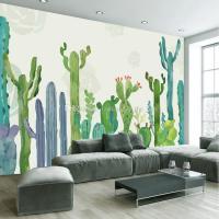 3D Wall Mural Hand Painted Cactus Wallpaper Interior Art ...
