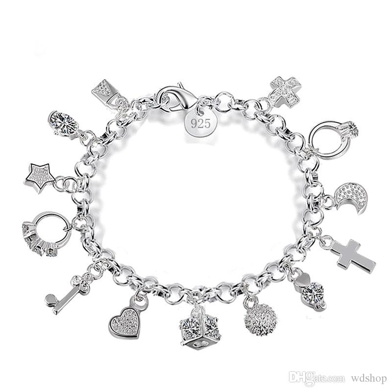 Luxury 925 Sterling Silver Plated Charms Bracelets With