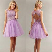 Light Purple Short Bridesmaid Dresses Jewel With Lace ...