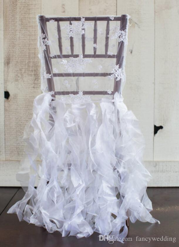 ruffle chair sashes office chairs chicago 2019 custom made 2017 white lace organza ruffles covers vintage romantic beautiful fashion wedding decorations c02