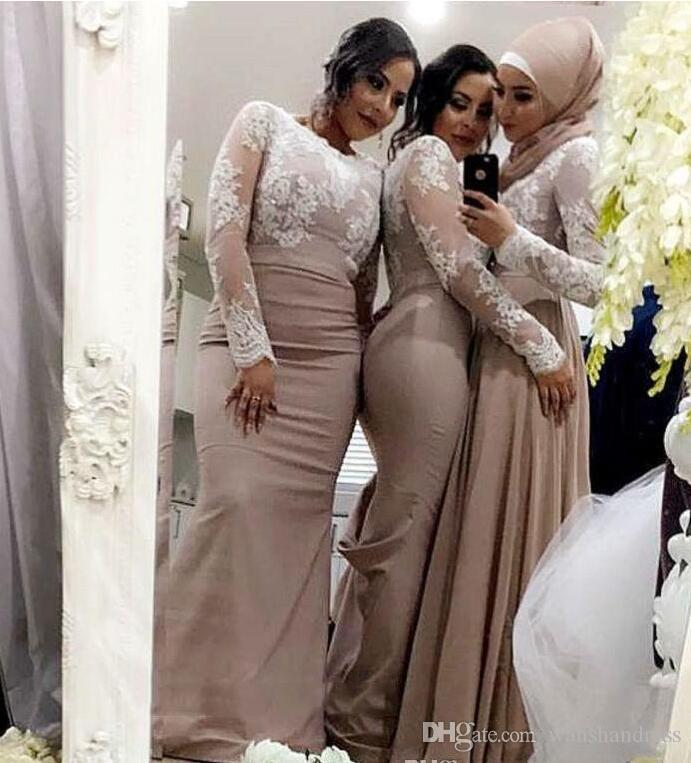 2018 Champagne Mermaid Bridesmaid Dresses With White Lace Long Sleeves Muslim Arabic Wedding