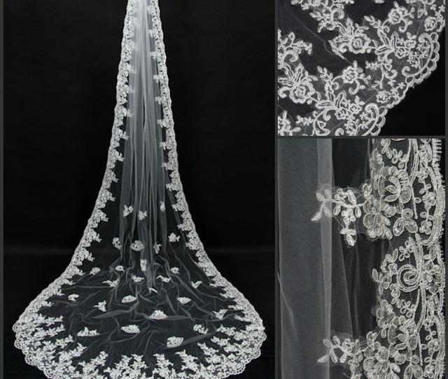 Veu De Noiva Longo  Meters Appliqued Lace Edge Bridal Veil White Ivory Wedding Accessories Cathedral Wedding Veil Cpa Bridal Veils With Crystals Buy