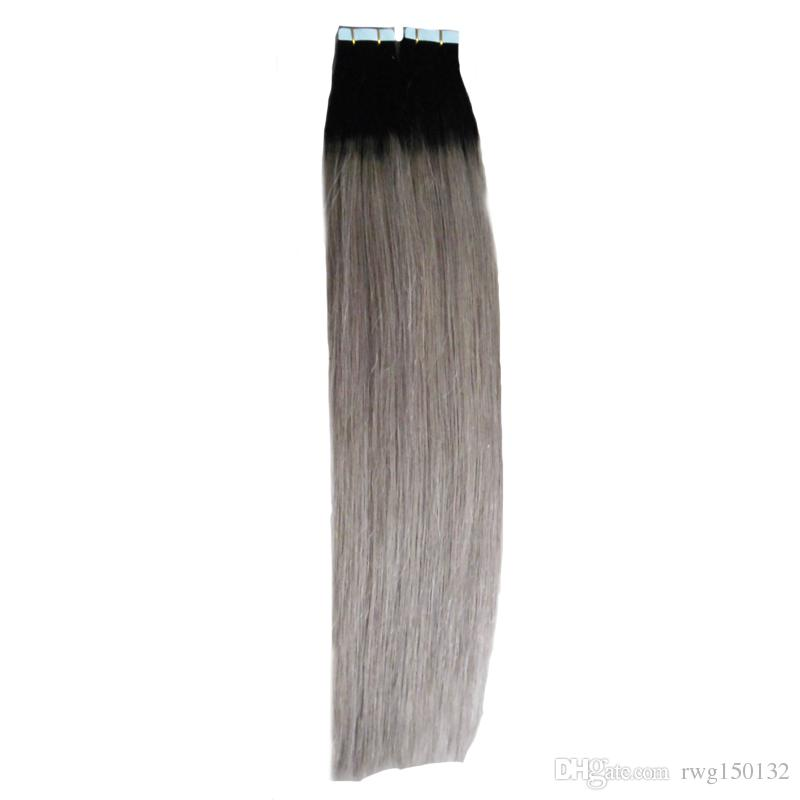 T1BGray Ombre Grey Virgin Hair 100g Silver Grey Tape