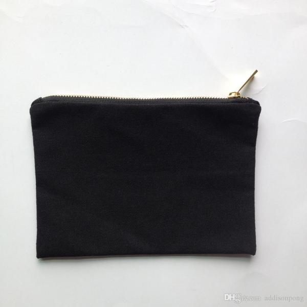 2018 Blank Black Color Canvas Makeup Bag With Gold Lining