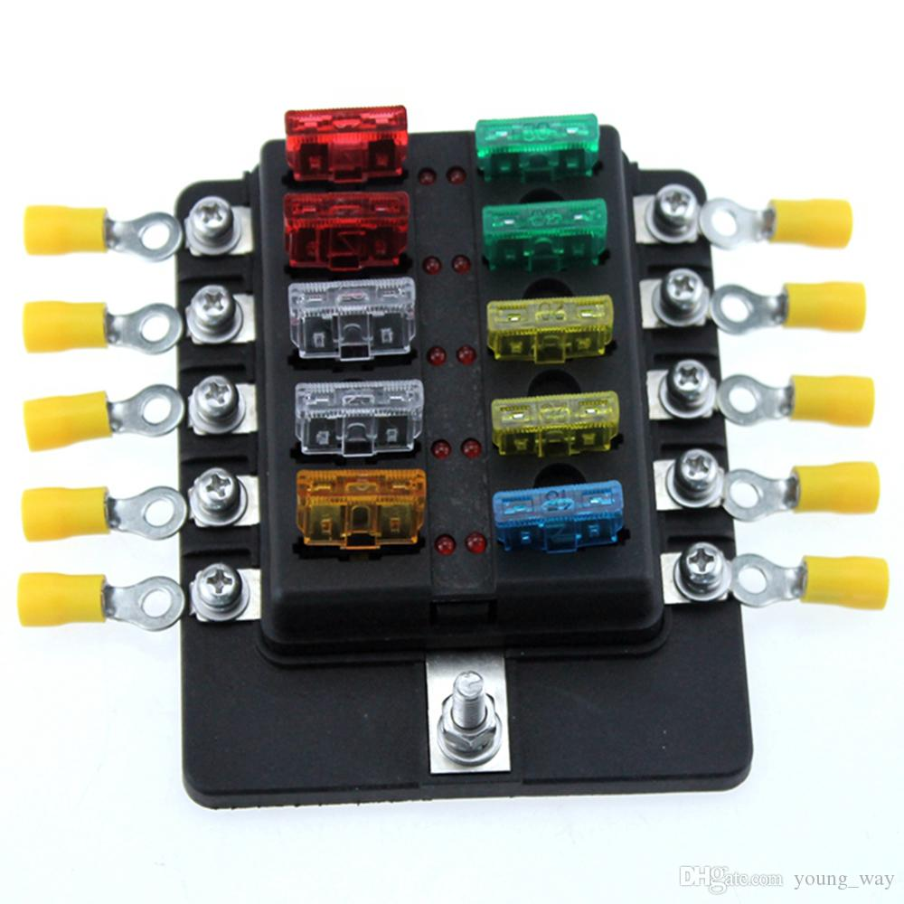 hight resolution of ambuker 10 way car blade fuse box truck marine boat rv led indicator blue sea fuse