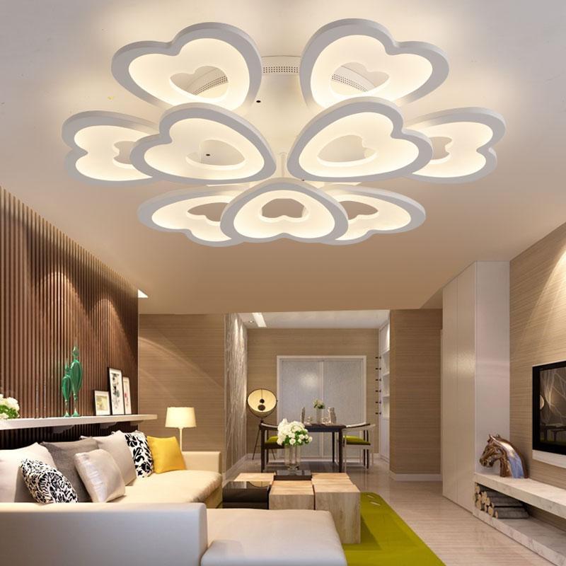 ceiling lights for living rooms green room chairs modern led bedroom lamp acrylic heart shape lighting home decor lamps pendant light