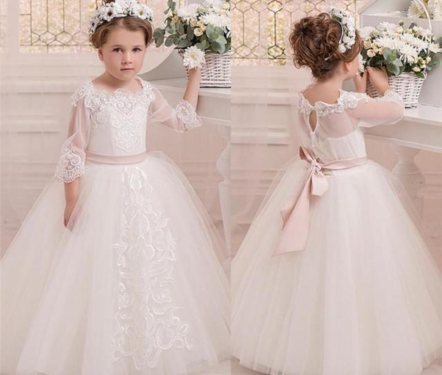 High End Gown Flower Girl Dress Little Girls Pageant Dresses Wedding Dress Beading Cheap Flower Girl Dresses Under  Clearance Flower Girl Dresses