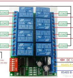 8 channel dc 12v rs485 relay module modbus rtu 485 remote control switch for plc ptz [ 1109 x 1061 Pixel ]