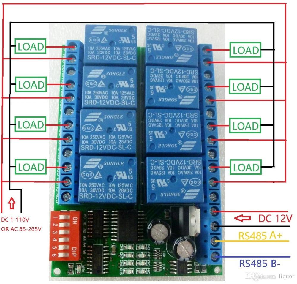 medium resolution of 2019 8 channel dc 12v rs485 relay module modbus rtu 485 remote control switch for plc ptz camera security monitoring from liquor 21 1 dhgate com