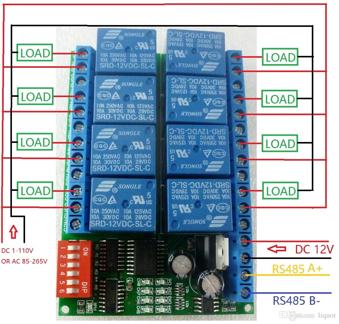 hight resolution of 8 channel dc 12v rs485 relay module modbus rtu 485 remote control switch for plc ptz