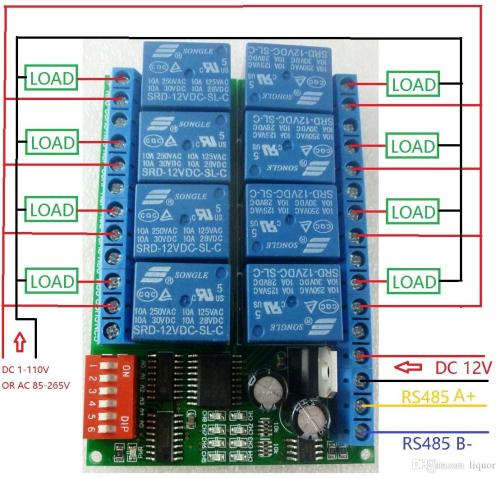 small resolution of 8 channel dc 12v rs485 relay module modbus rtu 485 remote control switch for plc ptz