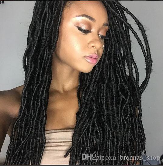2019 Long Hair Twist 18 New Soft Dread Lock Twist Faux Locs Crochet Black Dreadlocks Hair Kanekalon Synthetic Havana Mambo Braids Crochet Hair From