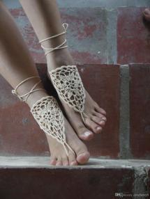 Handmade Crochet Flower Barefoot Sandals Foot Jewelry