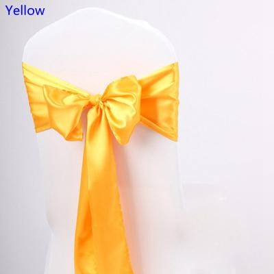 yellow chair covers cast iron table and chairs nz colour satin sash high quality bow tie for party wedding hotel banquet home decoration wholesale belts bridesmaid dresses
