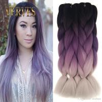 Ombre Kanekalon Braiding Hair Braid 100g/piece Purple Gray ...