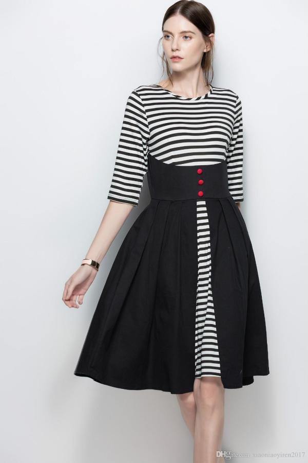 Womens Black And White Striped Dress 3 4 Sleeve Patchwork