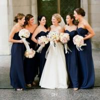 Cheap Navy Blue Bridesmaid Dresses 2017 Floor Length ...