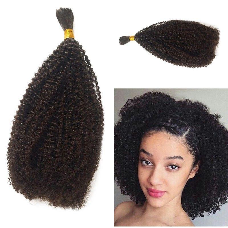 Human Braiding Hair Bulk No Attachment Peruvian Afro Kinky