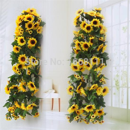 2018 Wholesale Artificial Sunflower Wall Hanging Rattans