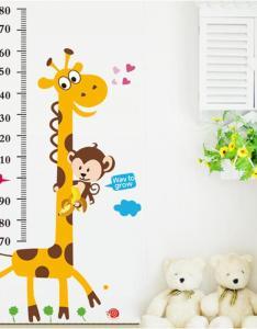 kids height chart wall sticker home decor cartoon giraffe ruler decoration room decal art wallpaper decorative decals also rh dhgate