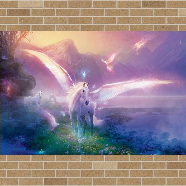 Angel Horse Cute Wall Canvas Painting Framed Kids Room Decor