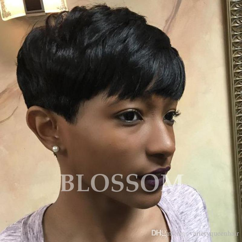 Cut Human Hair Wigs Pixie Half Hairstyles Full Lacelace