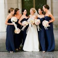 Cheap Navy Blue Bridesmaid Dresses 2018 Floor Length ...