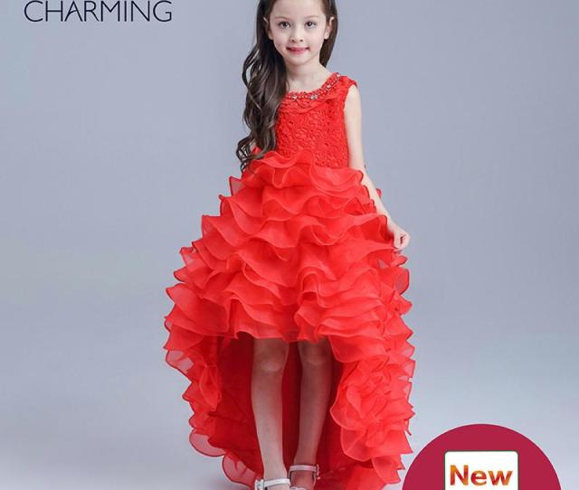 Little Girl Pageant Designer Dresses For Kids Red Round Neck Style Short In Front Long Satin Fabric Designer Dresses Pageant Dresses For Little Girl Pageant