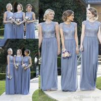 Dusty Blue Lace Church Country Long Bridesmaid Dresses ...