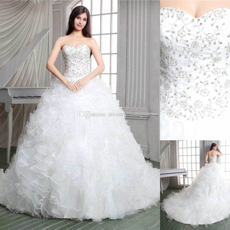 Real Pictures 2017 White Ball Gown Church Designer Wedding