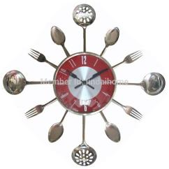 Kitchen Wall Clocks Moen Renzo Faucet Wholesale 18inch Large Decorative Metal Spoon Fork Clock Cutlery Utensil Creative Design Home Decor Small For Bathroom