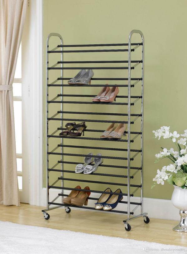 2019 Free Standing 10 Tier Shoe Tower Rack With Wheel Chrome