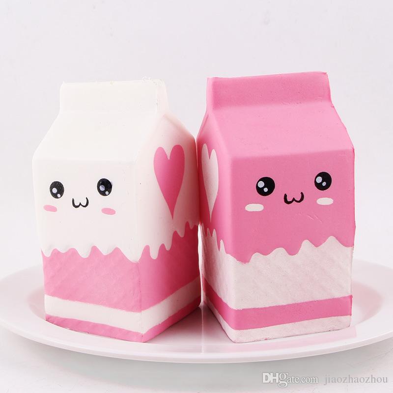 2017 New Cute Jumbo Squishy Phone Straps Milk Box Carton Slow Rising Phone Straps Pendant Sweet