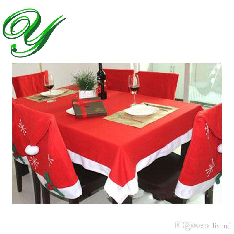 tablecloths and chair covers wingback recliner canada cover set christmas decoration red table cloth square flannel 184 128cm dining banquet holiday xmas ornament white