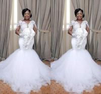 South African Mermaid Wedding Dresses White Applique Lace ...