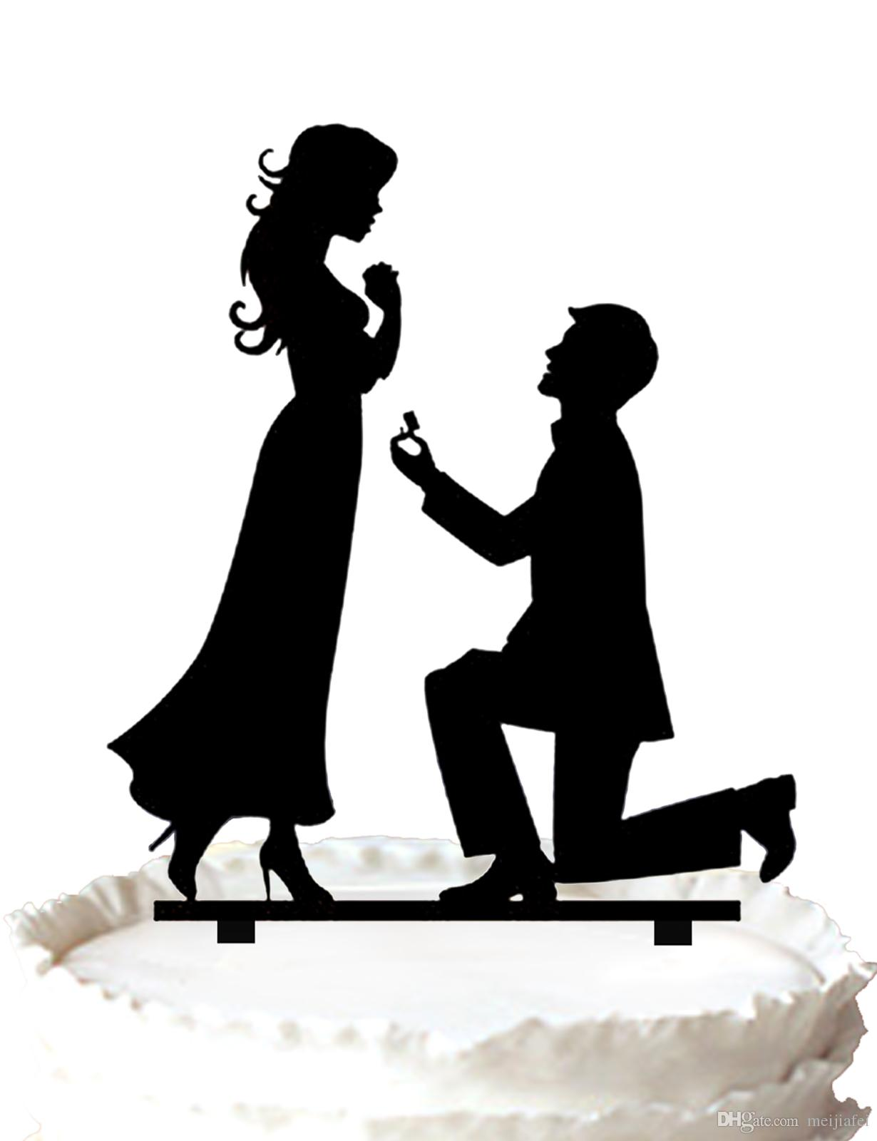 2017 Groom Proposes To His Bride Cake Topper Wedding